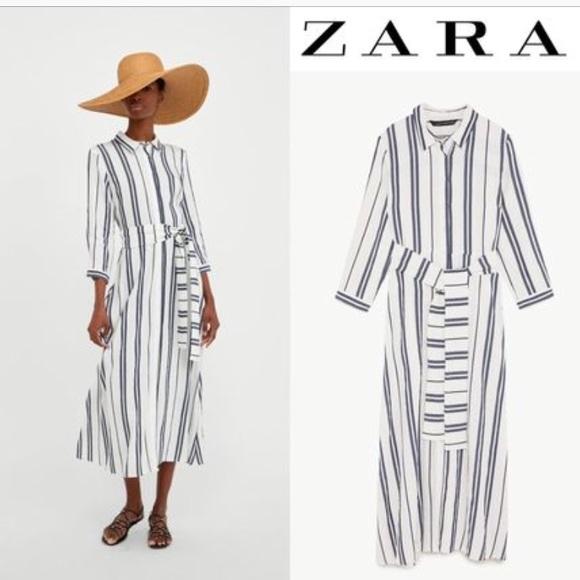 af349d8e7 Zara linen blue and white stripe dress. Size XS
